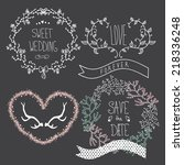 wedding graphic set  wreath ... | Shutterstock .eps vector #218336248