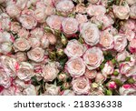 large bright bouquet of freshly ... | Shutterstock . vector #218336338