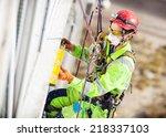 industrial climber measuring... | Shutterstock . vector #218337103