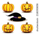 halloween pumpkins and hat... | Shutterstock .eps vector #218350858