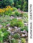 Flowery Rockery In The Garden
