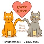 grey and ginger cat in love...   Shutterstock .eps vector #218375053