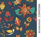 flowers and birds seamless... | Shutterstock . vector #218402686