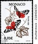Small photo of MONACO - CIRCA 2002: A stamp printed by MONACO shows garden tiger moth (Arctia caja) - a moth of the Arctiidae family, circa 2002