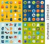 set of halloween icons | Shutterstock .eps vector #218416168