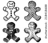 hand drawn gingerbread man.... | Shutterstock .eps vector #218418688