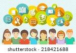 horizontal flat vector banner... | Shutterstock .eps vector #218421688
