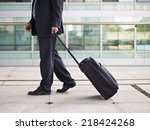 businessperson traveling with... | Shutterstock . vector #218424268