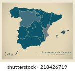 modern map   spain map with... | Shutterstock .eps vector #218426719
