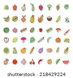 fruit and vegetables icon set.... | Shutterstock . vector #218429224