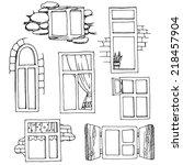 set of different windows. hand...   Shutterstock .eps vector #218457904