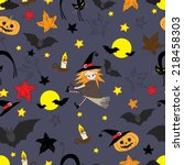 seamless pattern with witch | Shutterstock .eps vector #218458303