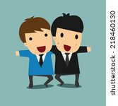 two happy businessmen holding... | Shutterstock .eps vector #218460130