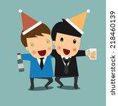 drunk office men. vector... | Shutterstock .eps vector #218460139