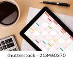 workplace with tablet pc... | Shutterstock . vector #218460370
