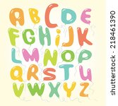 vector balloons font letters... | Shutterstock .eps vector #218461390