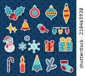 set of merry christmas and...   Shutterstock .eps vector #218465938