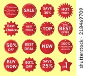 set of vector red badges and... | Shutterstock .eps vector #218469709