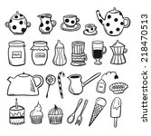 tea set black and white | Shutterstock .eps vector #218470513