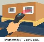 operator hand holds scanner... | Shutterstock .eps vector #218471803
