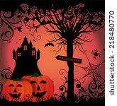 illustration for halloween with ... | Shutterstock .eps vector #218480770