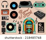 retro sound   set of music... | Shutterstock .eps vector #218485768
