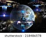 alien spaceship fleet nearing... | Shutterstock . vector #218486578