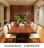 beautiful dining room with fish ... | Shutterstock . vector #218490154