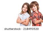 cool little kids posing over... | Shutterstock . vector #218493520
