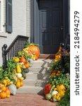 Pumpkins On Porch In...