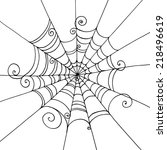 spider web hand drawn on ... | Shutterstock .eps vector #218496619