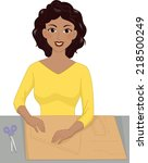 illustration featuring a girl... | Shutterstock .eps vector #218500249
