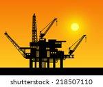 oil derrick in sea for... | Shutterstock .eps vector #218507110
