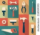 Set Of Flat Construction Tools