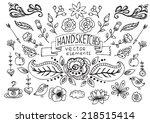 hand drawn vintage floral... | Shutterstock .eps vector #218515414
