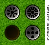 set of golf holes. vector... | Shutterstock .eps vector #218516053