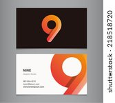 business card with number 9 | Shutterstock .eps vector #218518720