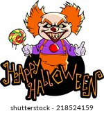cartoon scary clown with... | Shutterstock .eps vector #218524159