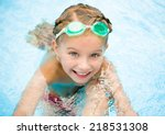 smiling little girl in swimming ... | Shutterstock . vector #218531308