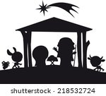 christmas nativity silhouette... | Shutterstock .eps vector #218532724