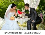 happy bride and groom on their...   Shutterstock . vector #218534530