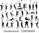 beach volleyball players vector ... | Shutterstock .eps vector #218538304