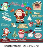 vintage christmas design set  | Shutterstock .eps vector #218542270
