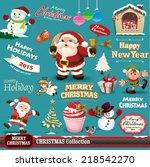 vintage christmas design set  | Shutterstock .eps vector #218542270
