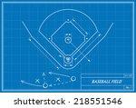 image of baseball field on... | Shutterstock .eps vector #218551546