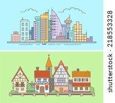 urban and village landscape.... | Shutterstock .eps vector #218553328