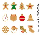 gingerbread cookie vector icon... | Shutterstock .eps vector #218560504