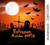 happy halloween poster. vector... | Shutterstock .eps vector #218572354