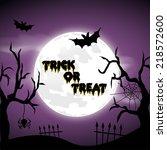 happy halloween poster. vector... | Shutterstock .eps vector #218572600