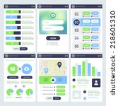 mobile ui design. flat vector...